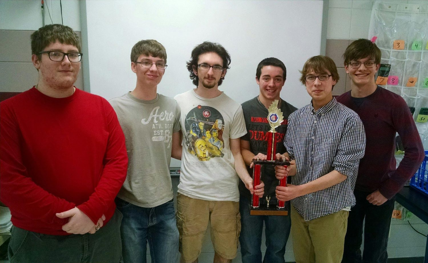 The world championship bound Antigo Odyssey of the Mind team comprised of, from left to right, Jesse Poltrock, Luke Hitz, Joe Fuccarino, Jacob Radke, Noah Royce, and Matt Lee, went to Michigan State University for the first time program.